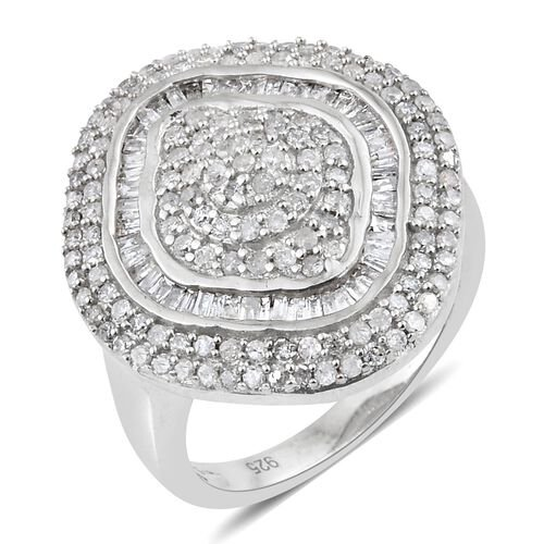 Diamond (Rnd) Ring in Platinum Overlay Sterling Silver 1.000 Ct. Silver wt 5.07 Gms. Number of Diamo