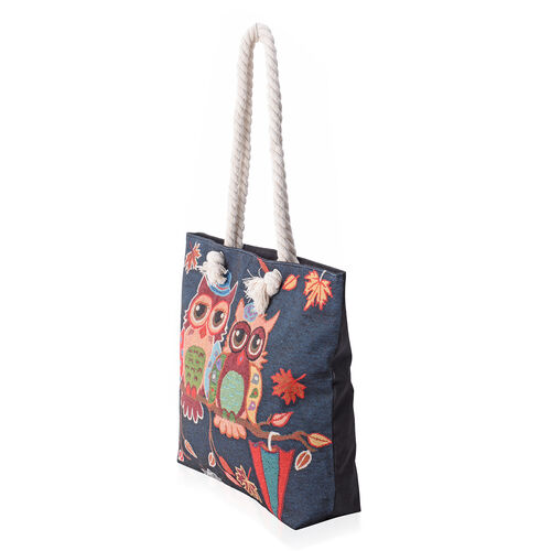 Super Chic Happy Owl Couple Pattern Light Weight Large Tote Bag (Size 45x34.5x10x37 Cm) Navy Blue Colour
