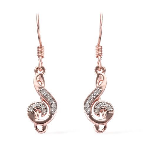 0.10 Carat Diamond Musical Note Hook Earrings in Rose Gold Overlay Sterling Silver
