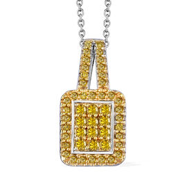 Yellow Diamond (Rnd) Pendant With Chain (Size 20) in Platinum and Gold Overlay Sterling Silver 0.330 Ct.