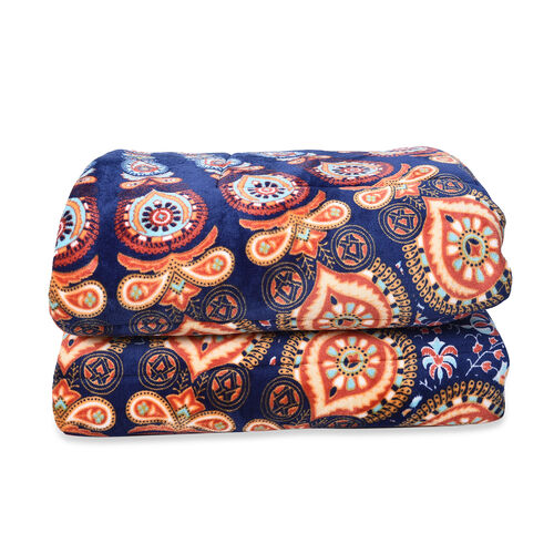 Set of 3 - Microflannel Mandala Printed Comforter in King Size with Sherpa Lining with 2 Sherpa Pillowcases - Navy, Orange and Multi Colour (230x250 Cm)