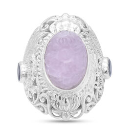 Royal Bali Collection - Carved Kunzite and Tanzanite Ring in Sterling Silver