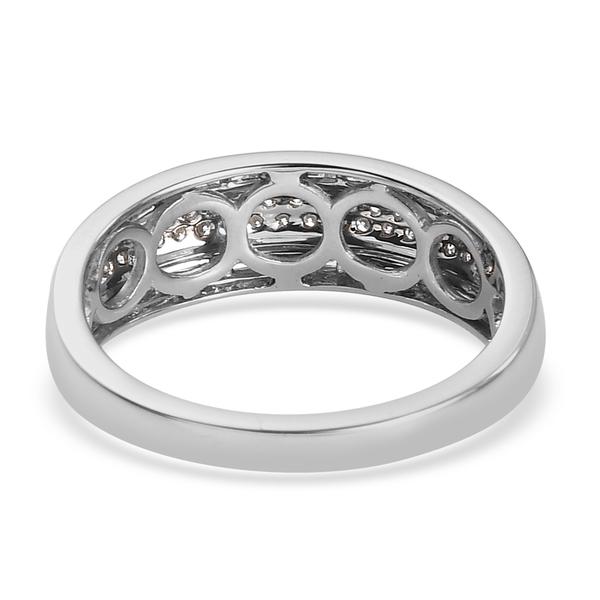 950 Platinum  White Diamond  Band Ring 0.50 ct,  Platinum Wt. 3.37 Gms  0.471  Ct.