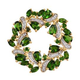 Russian Diopside and Natural White Cambodian Zircon (Rnd) and Wreath Pendant in 14K Gold Overlay Ste