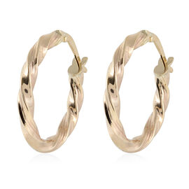 JCK Vegas Hoop Earrings with Clasp in 9K Gold 1.24 Grams