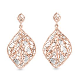 Artisan Crafted Polki Champagne and Champagne Diamond Earrings (with Push Back) in Rose Gold Overlay