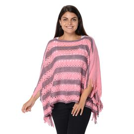 Stripe Pattern Knit Poncho with Simulated White Pearl and Tassel (Size 48x112x9 Cm) - Purple and Pin