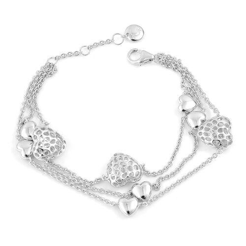RACHEL GALLEY Rhodium Plated Sterling Silver Triple Strand Lattice Heart Bracelet (Size 8), Silver wt. 15.40 Gms.