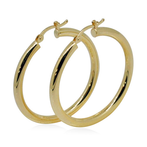 Royal Bali Collection- 9K Yellow Gold Hoop Earrings (with Clasp)