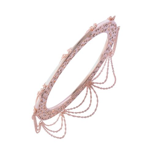 RACHEL GALLEY Rose Gold Overlay Sterling Silver Enkai Sun Tassel Bangle (Size 8), Silver wt 38.56 Gms.
