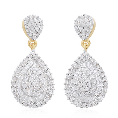 9K Yellow Gold SGL Certified (I3/G-H) Diamond (Bgt and Rnd) Earrings (with Push Back) 1.000 Ct, Number Of Diamond 172