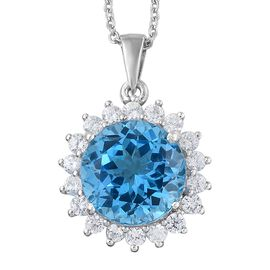 Marambaia Topaz (Rnd 10.40 Ct), Natural Cambodian Zircon Pendant with Chain in Platinum Overlay Sterling Silver 11.750 Ct.