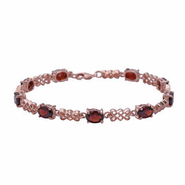 Rhodolite Garnet (Ovl 7x5 mm) Bracelet (Size 7.5 with Extender) in Rose Gold Overlay Sterling Silver