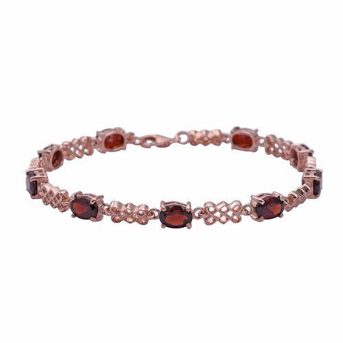 Rhodolite Garnet (Ovl 7x5 mm) Bracelet (Size 7.5 with Extender) in Rose Gold Overlay Sterling Silver