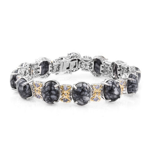 Austrian Pinolith (Ovl), Tanzanite Bracelet (Size 7.75) in Platinum and Yellow Gold Overlay Sterling
