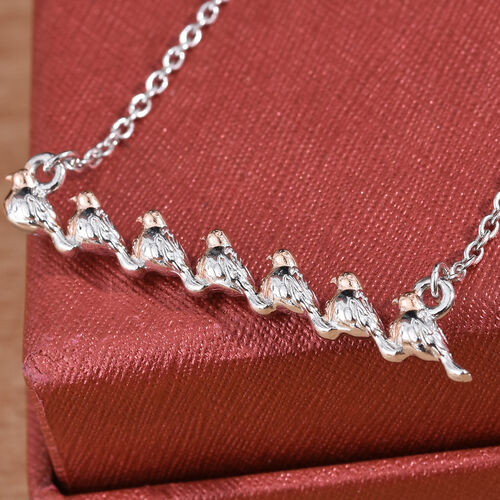 Rose Gold and Platinum Overlay Sterling Silver Bird Necklace (Size 18)
