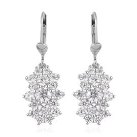 J Francis - Platinum Overlay Sterling Silver Cluster Lever Back Earrings Made with SWAROVSKI ZIRCONI