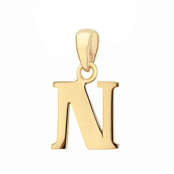 9K Yellow Gold Initial N Pendant