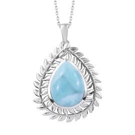 16.75 Ct Larimar Halo Pendant with Chain in Platinum Plated Sterling Silver