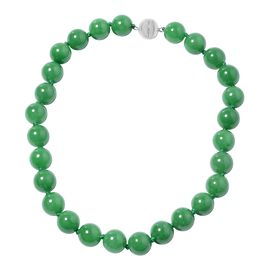 Green Jade (Rnd 14-16mm) Necklace (Size 20) in Rhodium Overlay Sterling Silver 749.00 Ct, Silver wt