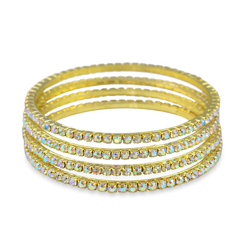 4 Piece Set - Simulated Rainbow Sapphire Bangle (Size 7) in Gold Tone