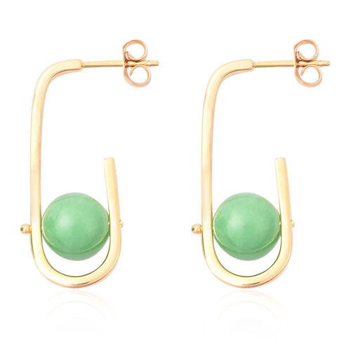 Green Jade Earrings in Yellow Gold Vermeil Sterling Silver 15.25 Ct.