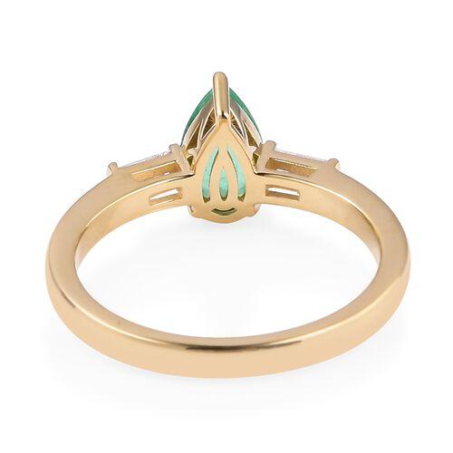 ILIANA 18K Yellow Gold AAA Boyaca Colombian Emerald (Pear) Diamond (SI/G-H) Ring 1.025 Ct.