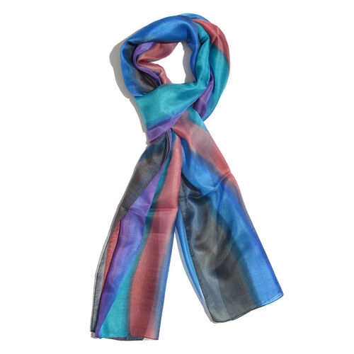 100% Mulberry Silk Blue, Grey and Multi Colour Handscreen Printed Scarf (Size 180x50 Cm)