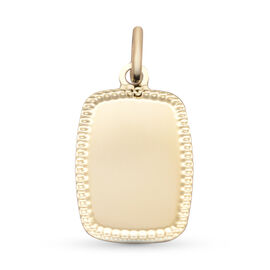 9ct yellow gold dotted edge tag polished pendant