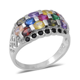 ELANZA Simulated Rainbow Sapphire (Ovl), Simulated Diamond Cluster Ring in Rhodium Overlay Sterling
