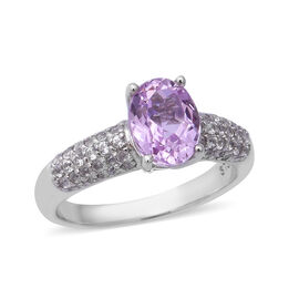 3.90 Ct Martha Rocha Kunzite and Zircon Classic Ring in Sterling Silver