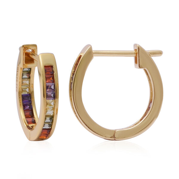 ELANZA Simulated Rainbow Sapphire Hoop Earrings in Yellow Gold Overlay Sterling Silver 2.00 Ct.