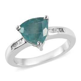 1.75 Ct Grandidierite and Diamond Solitaire Ring in Platinum Plated Silver