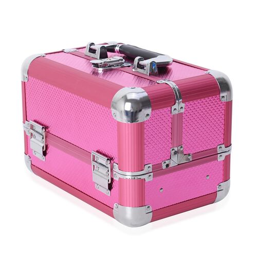 Extendable 4 Tier Vanity Case (Size 28x17x20 Cm) - Pink