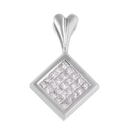 Signature Collection 0.75 Ct Diamond Invisible Set Princess Cut Pendant in 18K White Gold 4.20 grams