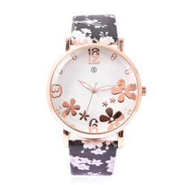 STRADA Japanese Movement Water Resistant Floral Motif Adorned Watch - Black