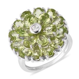 7.85 Ct Hebei Peridot and Zircon Cluster Floral Ring in Sterling Silver 5.63 Grams