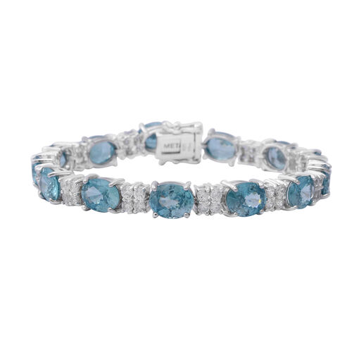 Ratanakiri Blue Zircon and Natural Cambodian White Zircon Bracelet (Size 7.5) in Rhodium Overlay Ste