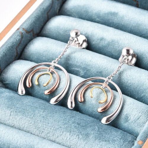 LucyQ Tri-Colour Drip Collection - Tricolour (Rose, Yellow and White) Overlay Sterling Silver Earrings (with Push Back)