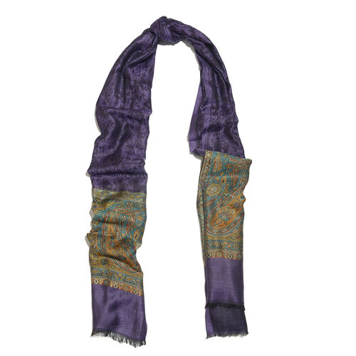 Purple, Brown and Multi Colour Paisley and Floral Pattern Reversible Scarf (Size 200X73 Cm)