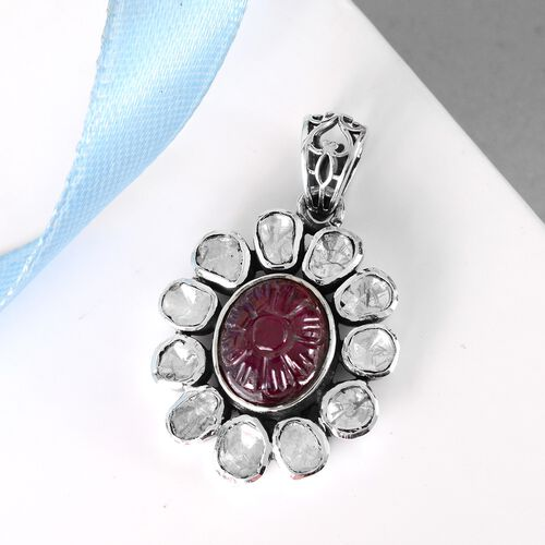 Limited Available- Artisan Crafted African Ruby and Polki Diamond Floral Pendant in Sterling Silver 7.50 Ct.