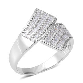 ELANZA Simulated Diamond (Oct) Crossover Ring in Rhodium Overlay Sterling Silver