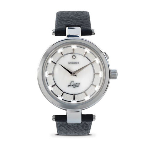 Close Out Deal- KYBOE Lago Diamante Nero Diamond Studded LED Watch - Swiss Movement - 100M Water Resistance (Silver)