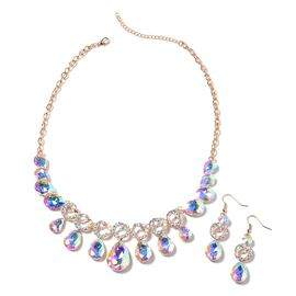 2 Pcs Set White Mystic Color Glass and Simulated Mystic White Crystal Necklace  20 Inch and Hook Ear