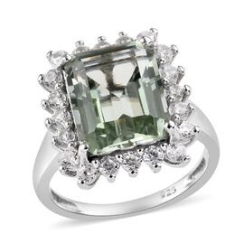 5.50 Ct Prasiolite and Cambodian Zircon Halo Ring in Platinum Plated Sterling Silver