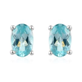 Paraibe Apatite (Ovl) Earrings (with Push Back) in Sterling Silver 1.00 Ct.