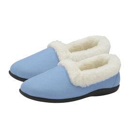 Dunlop Sandie Ladies Fleece Lined Collared Full Slippers in Blue
