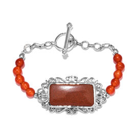 37 Carat Red Jasper and Agate Beaded Bracelet in Platinum Plated 7.5 Inch