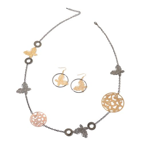 Butterfly Necklace (Size 40 with 1 inch Extender) and Hook Earrings in Rose, Black and Yellow Gold Tone