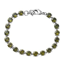 One Time Deal - Simulated Green Colour Diamond Tennis Bracelet (Size 7.5)